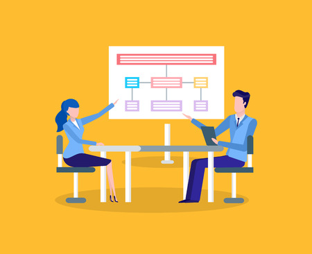 Office workers at table discussing chart on screen. Businessman and businesswoman, round table discussion, scheme or plan, employees vector illustration. Illustration