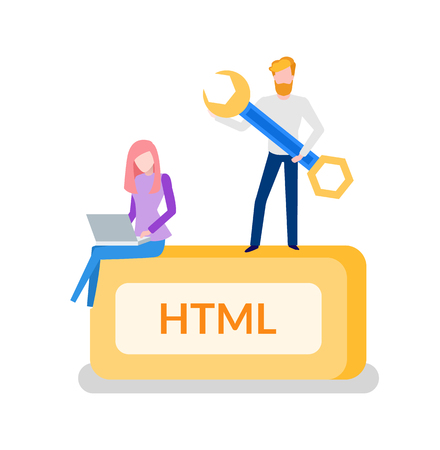 HTML programming man developer with tool instrument for optimization vector. Woman working on laptop, development of web code services and web sites