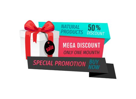 Natural Products, Mega Discount 50 Percent   Off Illusztráció