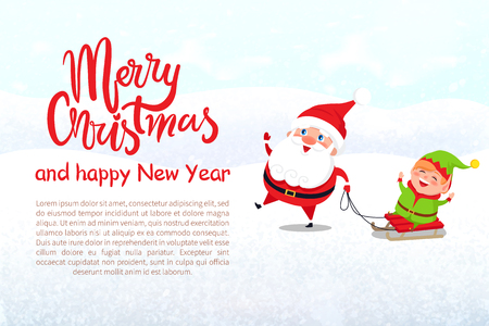 Merry Christmas and Happy New Year greeting card. Christmas card with Santa and Elf riding on sled and sample text, lettering, vector illustration