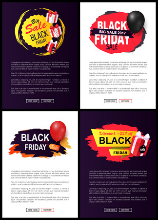 Black Friday sale tags, set of web site typography pages with label, information about price reduction on promo leaflets, vector brochures discounts