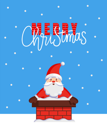 Merry Christmas major card with Santa look out from chimney. Vector cartoon image of Jack Frost stuck in stovepipe. Character of Father Xmas in flue Çizim