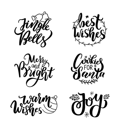 Happy New Year, Jingle bells and warm wishes, joy and cookies for Santa inscription lettering, happy winter days greetings. Typography calligraphic doodles 스톡 콘텐츠 - 126844562