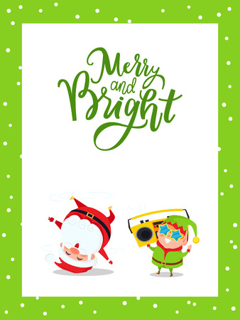 Merry and bright greeting card with Santa Claus and Elf breakdancing, listening music on recorder. New Year cartoon characters Father frost and dwarf helper