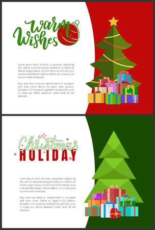 Warm wishes and Christmas holidays greeting cards with trees. Vector invitation leaflets with spruces decorated by garlands and heaps of wrapped gifts