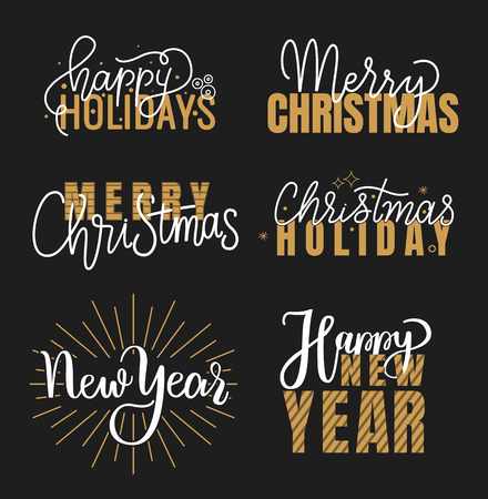 Happy Holidays and best wishes, merry and bright Christmas, holly jolly New Year handwritten doodles, scripts, calligraphic inscription for greeting cards. White text on black background 스톡 콘텐츠 - 113720303