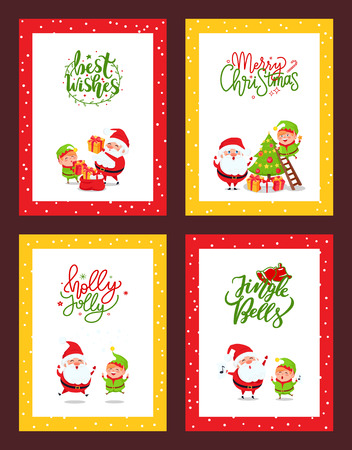 Set of Christmas cards with cartoon characters. Vector Santa Claus and Elf giving presents in boxes, decorating tree, jumping and singing carols Jingle Bells Vettoriali