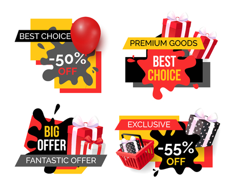 Best choice and premium goods, sale banners isolated set vector. Offers of shops, labels with balloons and presents in boxes with bow made of ribbon Çizim
