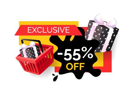 Exclusieve producten uitverkocht 55 korting op prijs geïsoleerde banner vector. Cadeaus en geschenken in winkelmandje, promotie en opruiming van winkels, verkoopgoederen