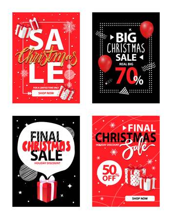 Final Christmas sale and discounts off price vector. Exclusive deal, shops offers to customers and shoppers. Reduction sellout of stores, winter sell