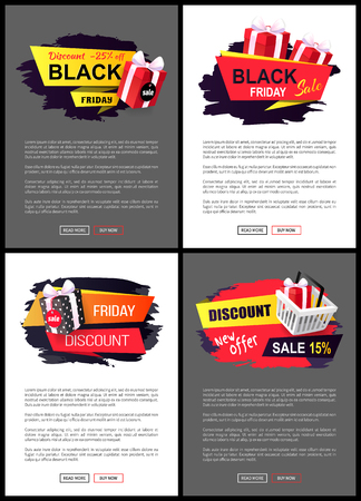 Discount new offer sale off, stickers with purchase, wrapped packages in shopping cart. Promo label tags, brush strokes on web posters with text sample Illusztráció