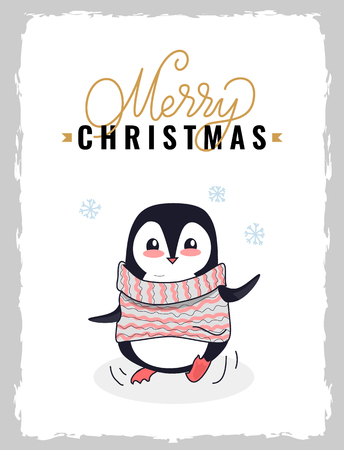 Merry Christmas postcard with little black smiling penguin dressed in knitted striped sweater. Holiday greetings and presents, calligraphic lettering