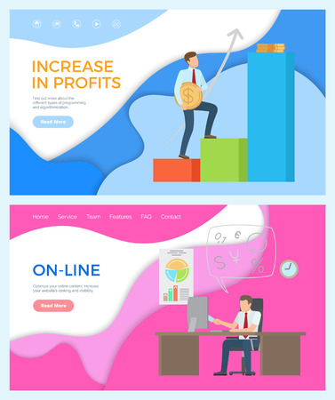 Online business and increase in profits, money making progress vector. Businessman working in office sitting by table, laptop digital devices for work Vetores