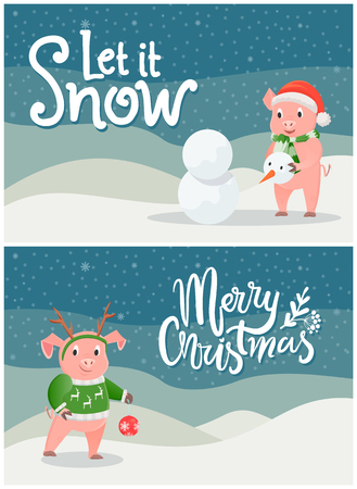 Let it Snow, Merry Christmas Postcards with Piglet Illustration