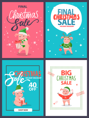 Big Christmas sale holiday discount set of postcards, cartoon pigs. Vector pink piglets animals, New year ball decoration element, gift boxes and candy