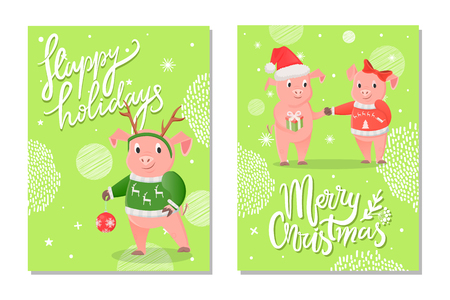 Happy holidays and Merry Christmas postcard. Pig with pattern on sweater and decoration on the head of deer. Girl with red jersey and bow near boy vector