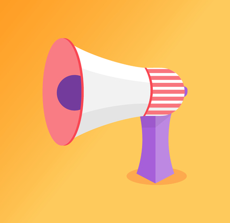 Loudspeaker big megaphone vector icon. Speaking-trumpet or bullhorn, blowhorn or loudhailer portable hand-held cone shaped acoustic horn to amplify voice Banque d'images - 126844585