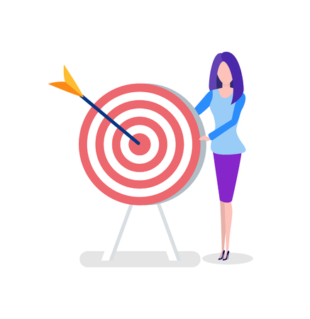 Office worker with target or aim and arrow, woman. Female character in office outfit, goal or achievement, marketing or online business vector illustration