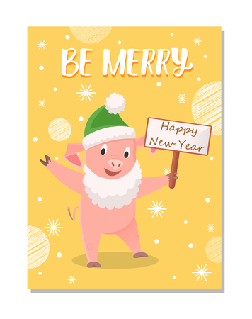 Be Merry Greetings from Cartoon Pig in Green Hat