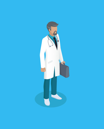 Doctor in uniform, working concept vector icon. Standing man in white smock with suitcase in hand and stethoscope on neck, vector in cartoon style