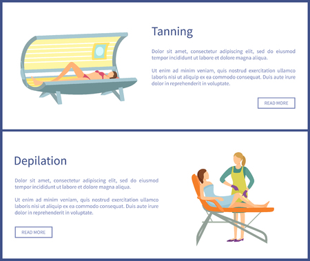 Tanning and Depilation Online Posters in Spa Salon