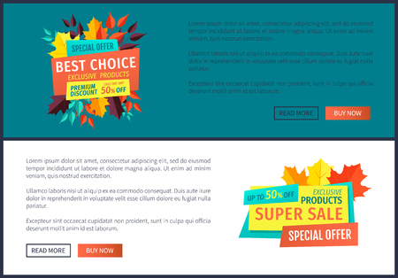 Best choice super sale poster with text sample set. Exclusive product autumnal premium quality. Hot price of goods shopping on reduced prices vector