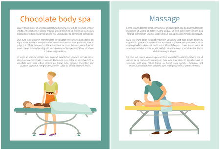 Massage and chocolate body spa procedures by professional masseur. Client lying on table and relaxing vector with text. Beauty salon services for people Illustration
