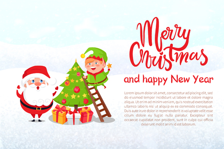 Postcard Merry Christmas and Happy New Year. Santa Claus and elf decorating Xmas tree. Winter cartoon characters, vector greeting card design with text Ilustração