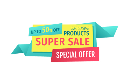 Up to 50 Off Super Sale Offer Vector Illustration
