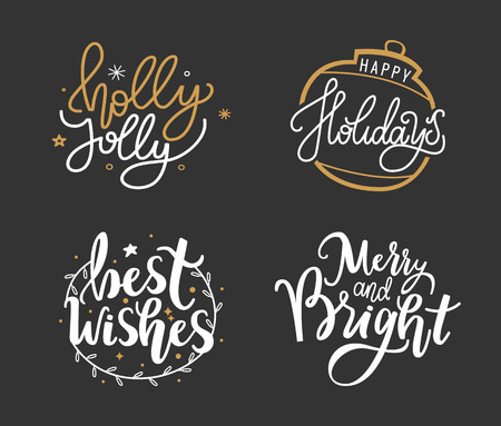 Best wishes, happy holidays, Merry Christmas lettering hand drawn doodle text, New Year typography fonts for greeting cards and creative postcards, vector