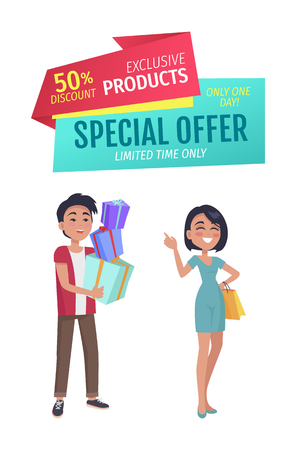 Special offer vector banner with people shopping. Discount for exclusive products badge, smiling young couple with purchase advertising cartoon style