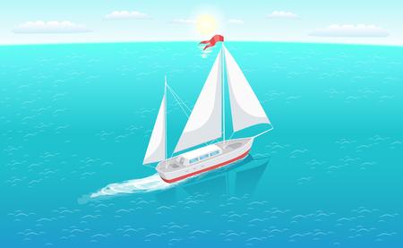 Nowoczesny jacht morskich morskich osobisty statek ikona. Żaglówka z białym płótnem żeglarstwo w głębokich błękitnych wodach i pozostawić ślad wektor ilustracja na białym tle.