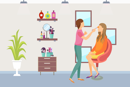 Visagiste makeup process of making visage in beauty salon vector. Shelves with mirror, perfumes and lotions, brushes and shadows set. Plant decoration