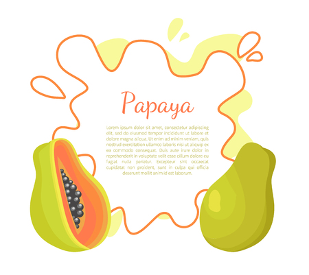 Papaya exotic fruit vector poster frame and place for text. Papaw or pawpaw Carica plant. Tropical food, similar to pear, dieting vegetarian grocery ??????