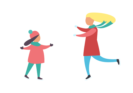 Mother and daughter running to each other in warm cloth vector isolated characters. Woman and girls stretches hands to each other, people at winter time