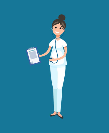 Veterinarian doctor with documents on clipboard vector. Woman with stethoscope and smile on face, person curing and treating pets, veterinary clinic