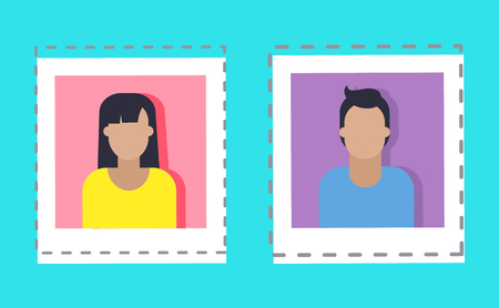 Bloggers profile of users social media set isolated icons vector. Stickers and patches of people, male and female on photocard. Woman and man person