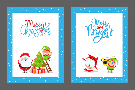 Christmas Congratulation Cards with Santa and Elf Illustration