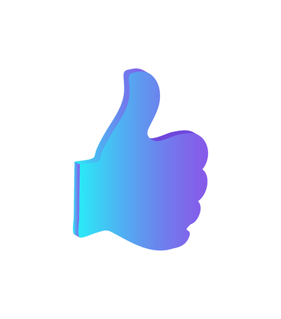 Thumb up. hand gesture isolated icon for chatting online and showing approval vector. Ok gesturing, agreement expression in social networks