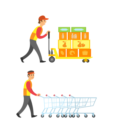 Loader worker man with boxes and containers vector. Person working in supermarket arranging shopping trolleys empty carts of metal. Delivery service