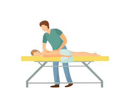 Back massage in beauty salon cartoon isolated vector. Standing masseur in uniform massaging client lying on table covered by towel, physiotherapy concept Ilustracja