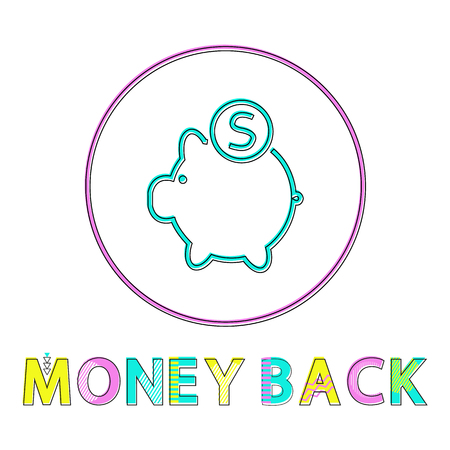 Money back vector illustration in linear outline style. Piggy bank with coin symbol, gadget concept and website design simple line icon in circle Archivio Fotografico - 126785559