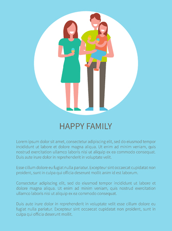 Happy family mother, father and son isolated in circle. Dad, mom and little boy on arms, kid holding ball in hands. Spending time together concept