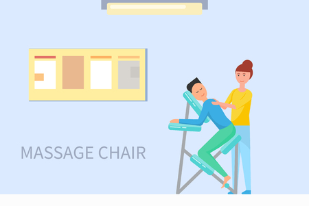 Massage chair in massaging room cartoon banner vector sample. Masseuse in uniform stretching back of client sitting in armchair, comfortable equipment