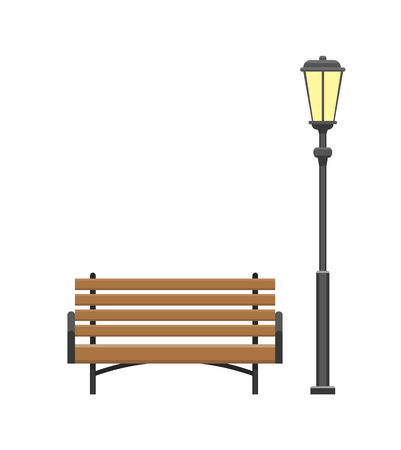 Bench made of wooden material with lantern, set of isolated icons vector. Furniture at city park, lamp illuminating bright light and place to seat