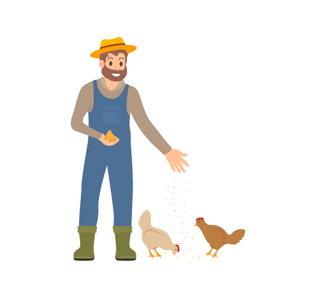 Farmer feeding chickens and hens isolated icon vector. Person wearing uniform smiling and caring for domestic animals of farm. Agricultural works