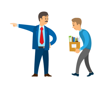 Boss professional director worker dismissing person duty vector. Businessman angry with employee, employer firing staff, sacked workmate with boxes