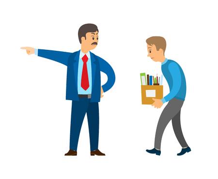 Patron directeur professionnel travailleur rejetant le vecteur de devoir de personne. Un homme d'affaires en colère contre un employé, un employeur licenciant du personnel, un collègue licencié avec des boîtes
