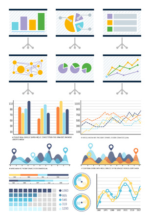 Infographics and flowcharts whiteboard presentation vector. Pie diagrams schemes of business visualized information. Board with infocharts and graphs