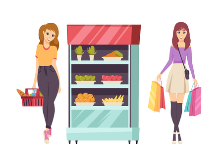 Food shopping customer with basket set vector. Refrigerator with vegetables and fruits, banana and apple, carrot and orange. Lady with buying bread Illustration